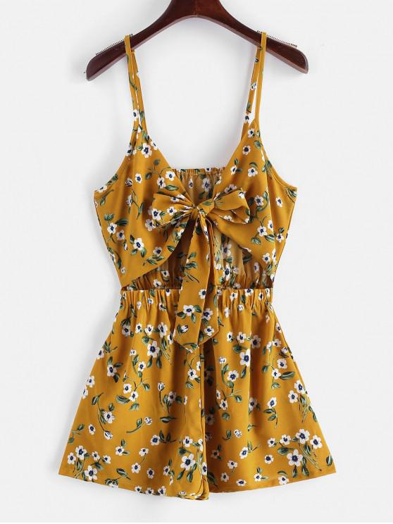 hot ZAFUL Floral Print Tie Front Cami Romper - BEE YELLOW L