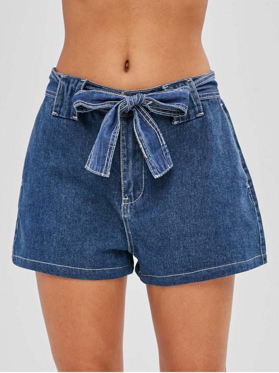fashion Belted Wide Leg Denim Shorts - DEEP BLUE L