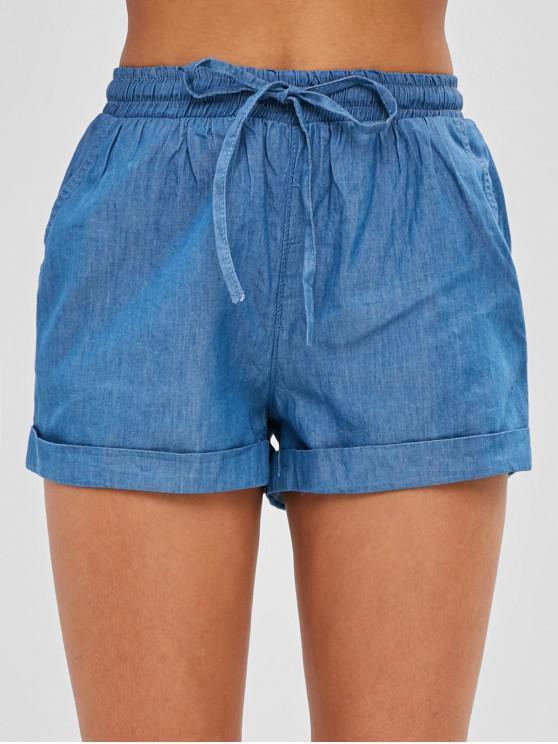 Short Simple à Taille Haute à Revers - Bleu Léger  M
