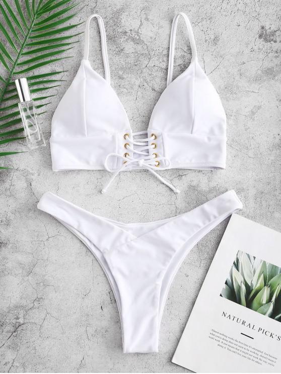 unique ZAFUL Lace Up Cami Bikini Set - WHITE S