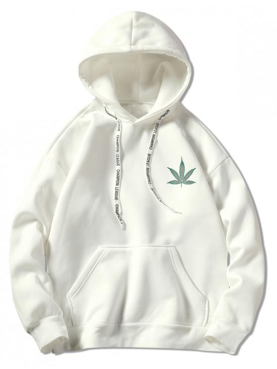 latest Drawstring Back Leaf Print Hoodie - WHITE XL