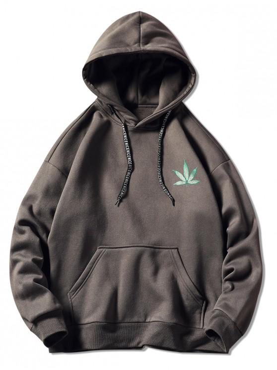 affordable Drawstring Back Leaf Print Hoodie - DARK GRAY 3XL