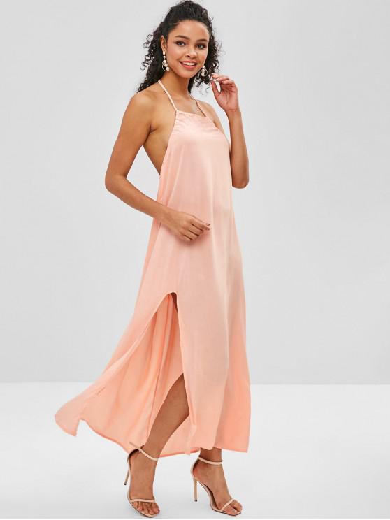 hot Split Hem Backless Halter Maxi Dress - ORANGE PINK L