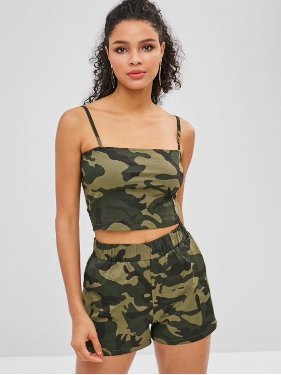 sale Camouflage Cami Top And Shorts Set - CAMOUFLAGE GREEN S