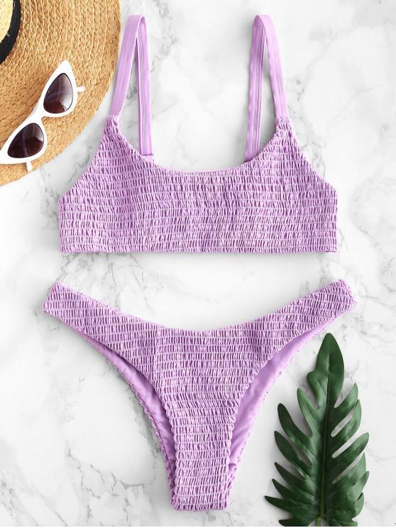 unique ZAFUL Smocked Bralette Bikini Set - MAUVE M