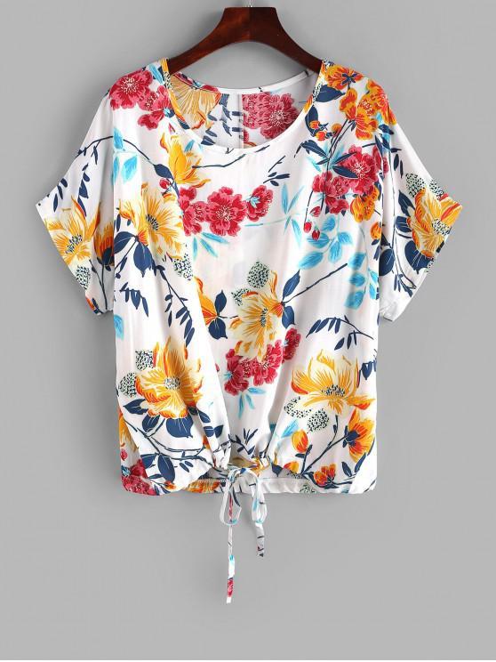 women Floral Print Drawstring Hem Dolman Tee - MULTI M