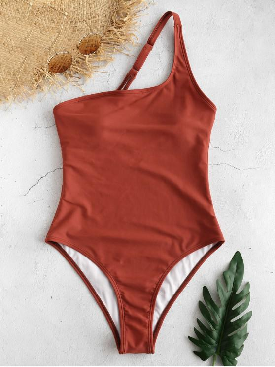 ZAFUL Traje de baño de una sola pieza de un hombro - Castaño Rojo S