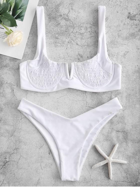 hot ZAFUL Underwire Smocked Bikini Set - WHITE S