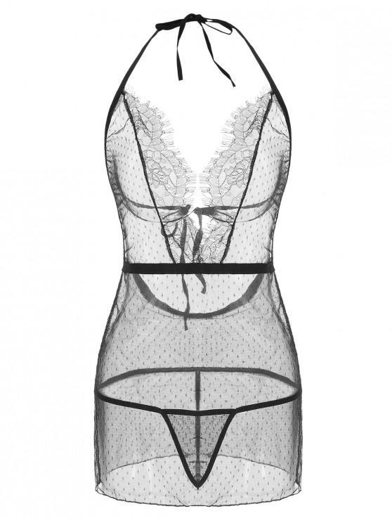 trendy Lace Panel Mesh Halter Babydoll Set - BLACK XL