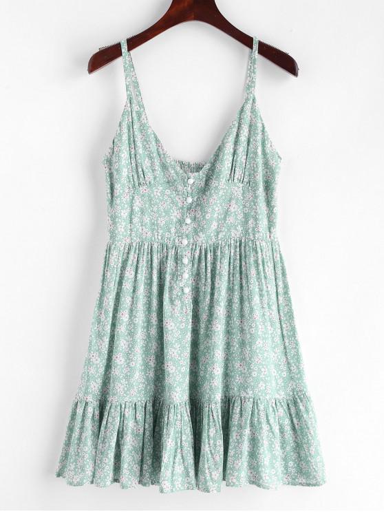 ZAFUL荷葉邊半鈕扣碎花連衣裙 - 輕的海藍寶石 M