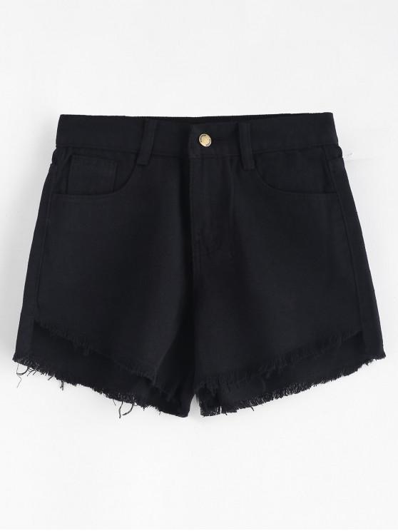 hot Frayed Hem Pockets Denim Shorts - BLACK M