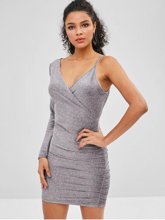 fancy Club Shiny Draped Dress - SILVER XL