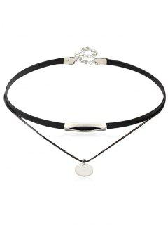 Leather Chain Double Layered Choker Necklace - Silver