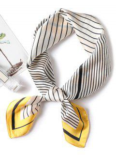 Square Shape Striped Decoration Scarf - Sun Yellow