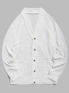 Pull Fin Avec Boutons Et Poche De Couleur Unie  - Blanc Xs