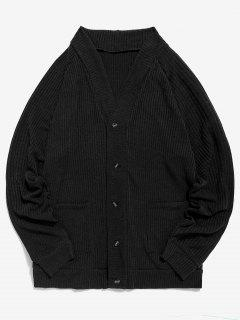 Solid Pocket Button Up Thin Sweater - Black M
