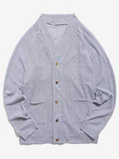 Solid Pocket Button Up Thin Sweater - Light Gray S