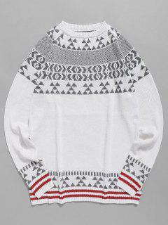 Suéter De Punto De Patrón Geométrico - Blanco Xs