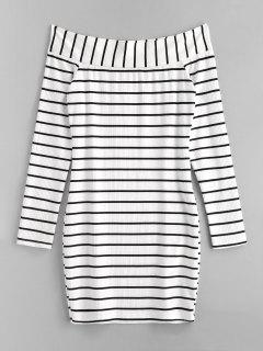 ZAFUL Foldover Striped Knit Fitted Dress - Black M