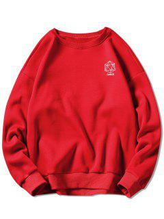 Geometrical Embroidery Graphic Sweatshirt - Red Xl