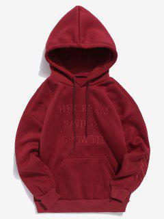 Solid Embroidery Letter Fleece Hoodie - Red L