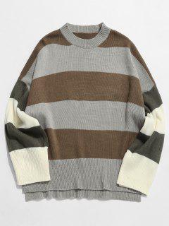 Contrast Stripe Pullover Knit Sweater - Khaki L