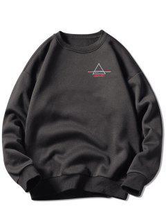 Crew Neck Letter Embroidered Graphic Sweatshirt - Dark Gray 3xl