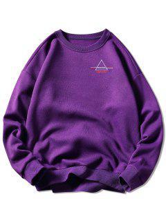Crew Neck Letter Embroidered Graphic Sweatshirt - Purple L