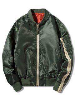Contrast Zipper Letter Print Bomber Jacket - Green 3xl