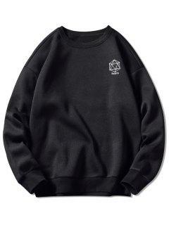 Geometrical Embroidery Graphic Sweatshirt - Black L