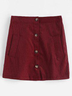 Buttoned Plain Corduroy Skirt - Red Wine M