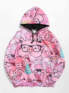 ZAFUL Pullover - Sweat à Capuche Motif Cochon - Rose  2xl