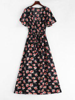 Crossover Maxi Floral Tea Dress - Black L