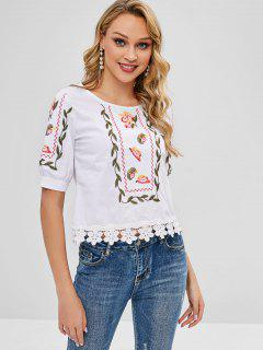 Top Floral Bordado - Blanco L