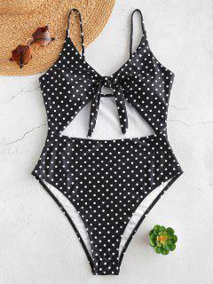 ZAFUL Cutout Knot Polka Dot Swimsuit - Black L