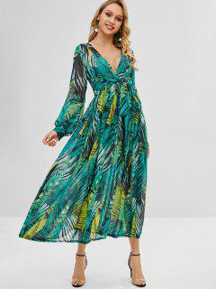 Knotted Leaves Print Maxi Dress - Greenish Blue L