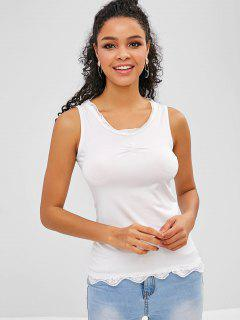 Lace Insert Ruched Tank Top - White M