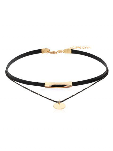 sale Leather Chain Double Layered Choker Necklace - GOLD  Mobile