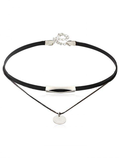 women Leather Chain Double Layered Choker Necklace - SILVER  Mobile
