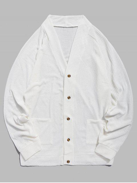 Pull Fin avec Boutons et Poche de Couleur Unie - Blanc M Mobile