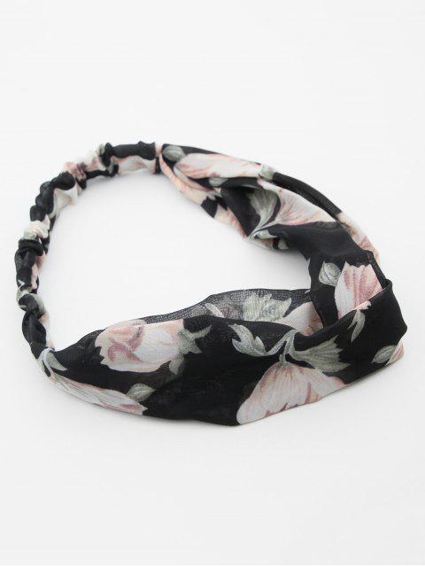 outfits Chiffon Crossed Flower Printed Headband - BLACK  Mobile
