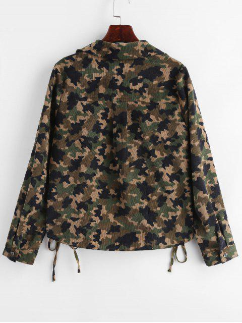 trendy ZAFUL Corduroy Camo Lace-up Shirt - ACU CAMOUFLAGE S Mobile