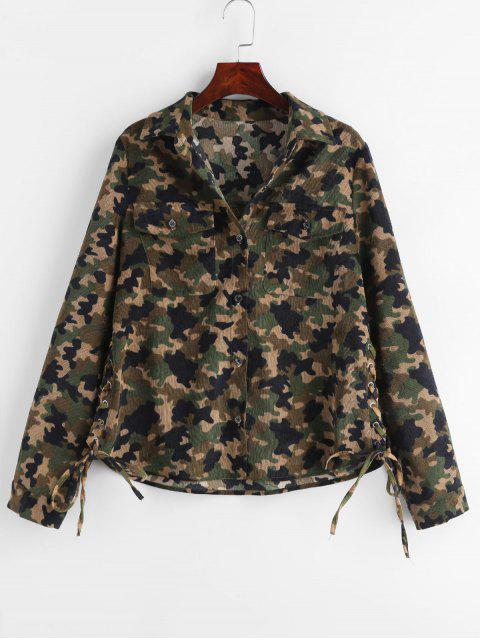 chic ZAFUL Corduroy Camo Lace-up Shirt - ACU CAMOUFLAGE L Mobile