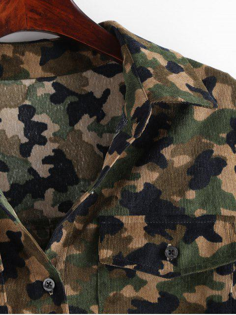 fancy ZAFUL Corduroy Camo Lace-up Shirt - ACU CAMOUFLAGE XL Mobile