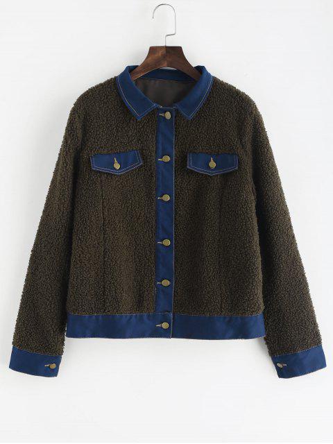 Künstliche-Taschen-Pelz-Jacke - Armeegrün XL Mobile
