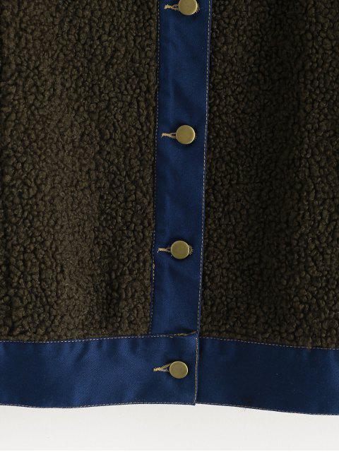 best Faux Pockets Faux Fur Jacket - ARMY GREEN L Mobile