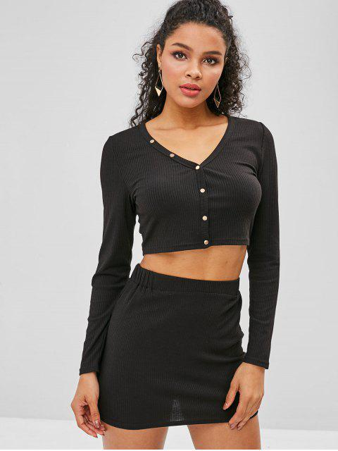 trendy ZAFUL Snap Button Crop Top and Skirt Set - BLACK XL Mobile