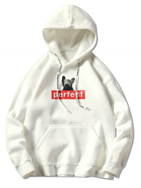 online Dog and Letter Print Drawstring Hoodie - WHITE 2XL Mobile