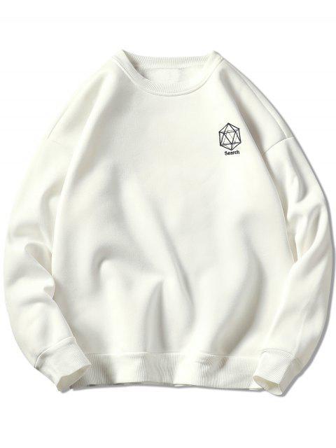 shops Geometrical Embroidery Graphic Sweatshirt - WHITE 3XL Mobile