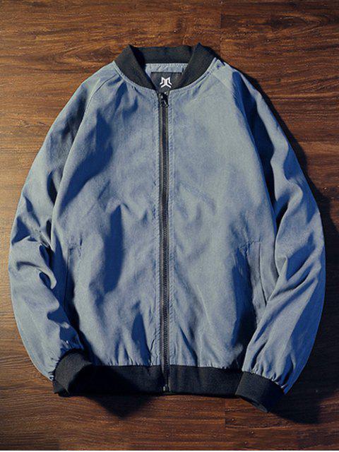 Veste Motif Zippée en Arrière - Bleu 3XL Mobile